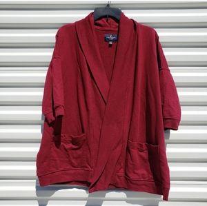 American Eagle maroon sweatshirt cardigan